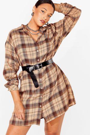 NASTY GAL Womens PLUS SIZE CHECK SHIRT DRESS - 16