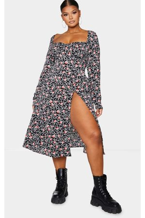 PRETTYLITTLETHING Plus Floral Print Cupped Split Detail Midi Dress