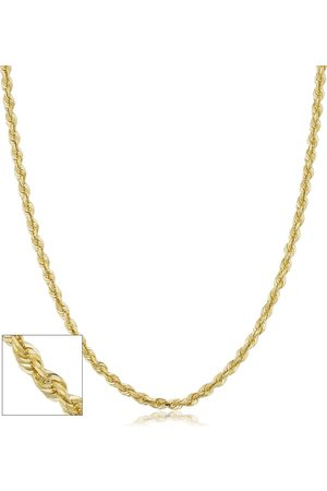SuperJeweler 14K (5.30 g) 3.3mm Hollow Rope Chain Necklace, 18 Inches