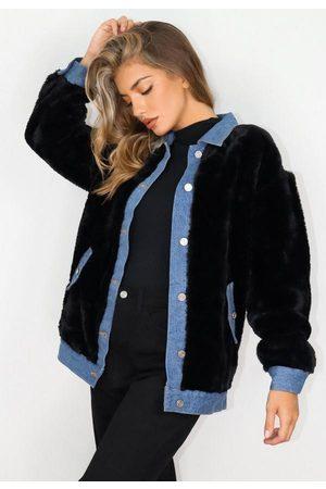 Missguided Women Denim Jackets - Faux Fur Oversized Denim Jacket
