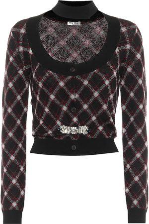 Miu Miu Embellished checked wool cardigan