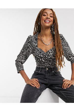Miss Selfridge Sweetheart wrap bodysuit in animal print-Multi