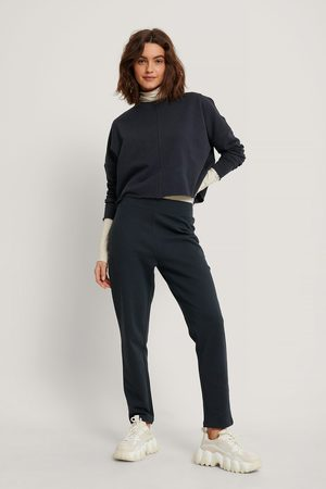 NA-KD Women Straight - Straight Basic Sweatpants - Navy