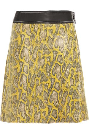 Stand Studio Woman Elene Snake-effect Leather Mini Wrap Skirt Marigold Size 36