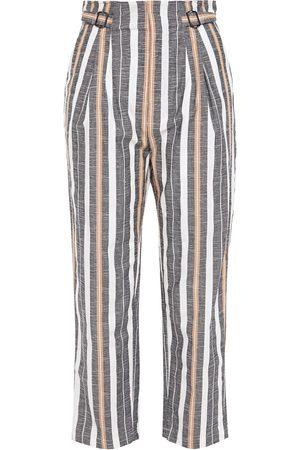 Joie Women Trousers - Woman Striped Cotton-blend Jacquard Straight-leg Pants Gray Size 0