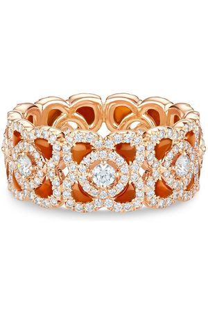 De Beers 18kt rose Enchanted Lotus carnelian and diamond ring