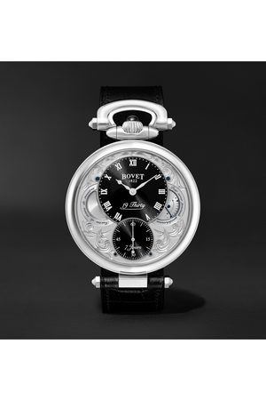 Bovet 19Thirty Fleurier Hand-Wound 42mm Stainless Steel and Croc-Effect Leather Watch, Ref. No. NTS0016