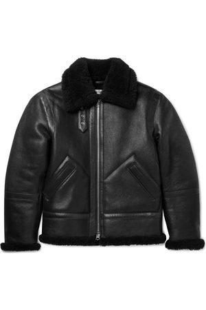 Acne Studios Men Leather Jackets - Shearling-Lined Full-Grain Leather Jacket