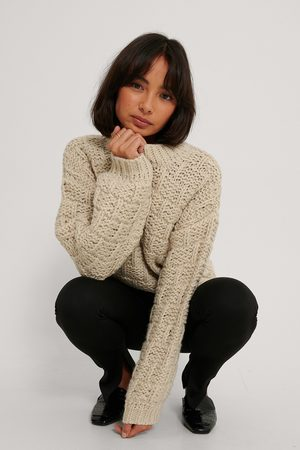 NA-KD Knitted Detail Sweater - Beige