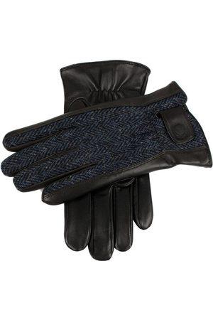 Dents Men's Harris Tweed & Leather Gloves, BLACK/NAVY/Black / L