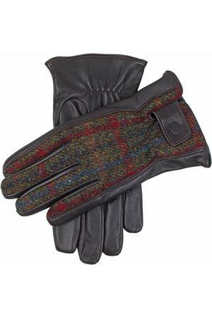 Dents Men's Harris Tweed & Leather Gloves, BROWN/SAGE/Pine / S