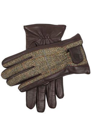 Dents Men's Harris Tweed & Leather Gloves, ENG TAN/OLIVE/Pine / XL