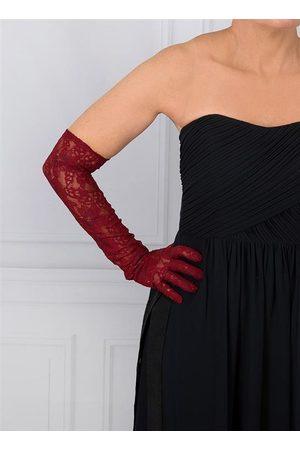 Dents Women Gloves - Women's Long Lace Evening Gloves, CLARET / ONE