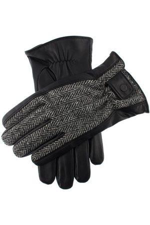 Dents Men Gloves - Men's Harris Tweed & Leather Gloves, BLACK/CHARCOAL/Black / XL