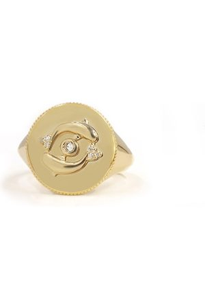 The Alkemistry Noush 14ct Gold And Diamond Life Signet Ring
