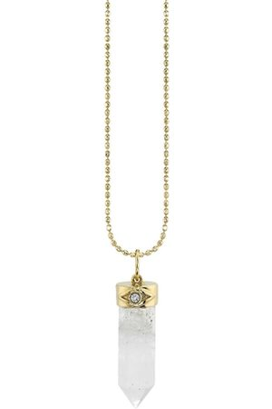 The Alkemistry Women Necklaces - Sydney Evan 14ct Gold Moonstone And Diamond Crystal Pendant Necklace