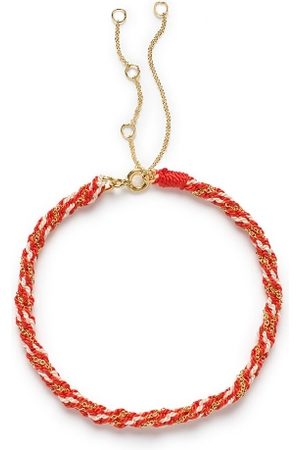 The Alkemistry 18ct Gold Kumachi Bracelet With Coral And White Silk Cord