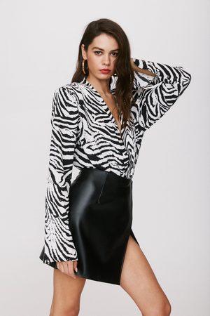 NASTY GAL Womens Wild Streak Zebra Bodysuit - - 4