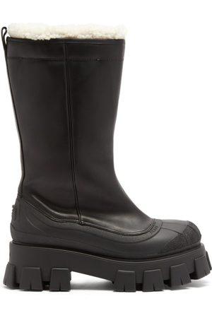 Prada Monolith Chunky-sole Leather Boots - Womens