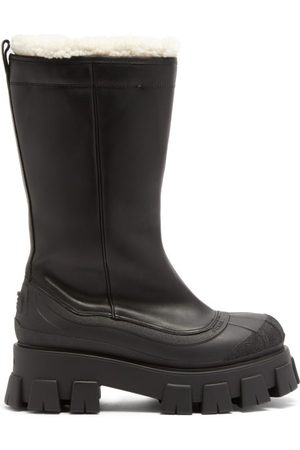 Prada Women High Leg Boots - Monolith Chunky-sole Leather Boots - Womens