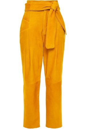 Dundas Women Trousers - Woman Belted Suede Tapered Pants Marigold Size 36