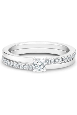 De Beers Women Rings - 18kt white gold The Promise small solitaire round brilliant diamond ring