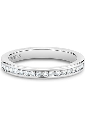 De Beers Women Rings - Platinum channel-set half eternity diamond band ring