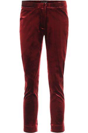 ANN DEMEULEMEESTER High-rise skinny cropped velvet pants