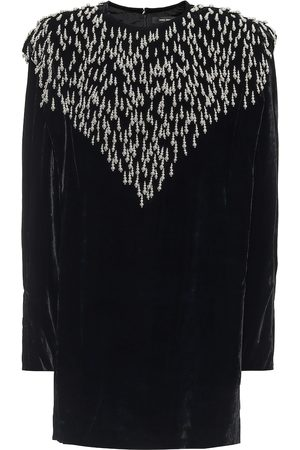Isabel Marant Women Dresses - Gabasi embellished velvet minidress