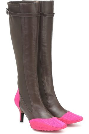 Marine Serre Leather knee-high boots
