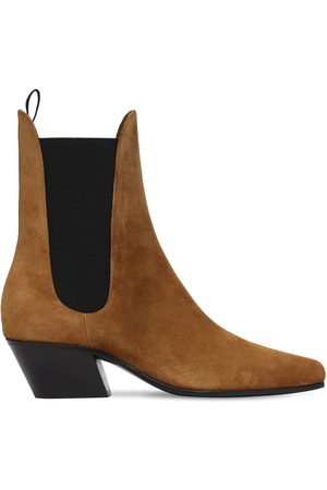 Khaite 50mm Saratoga Suede Ankle Boots