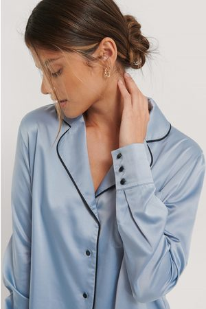 NA-KD Piping Detail Night Shirt - Blue