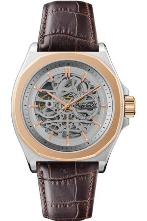 INGERSOLL 1892 The Orville Silver And Rose Gold Detail Skeleton Automatic Dial Brown Leather Strap Watch