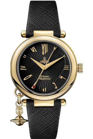 Vivienne Westwood Orb Heart Black And Gold Detail Charm Dial Black Leather Strap Ladies Watch