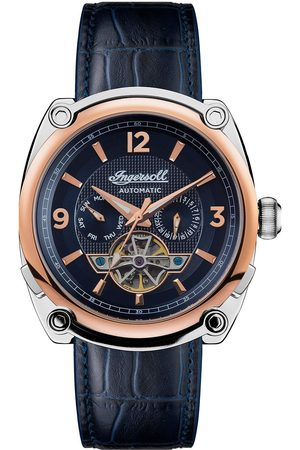 INGERSOLL 1892 The Michigan Blue And Rose Gold Detail Automatic Dial Blue Leather Strap Watch