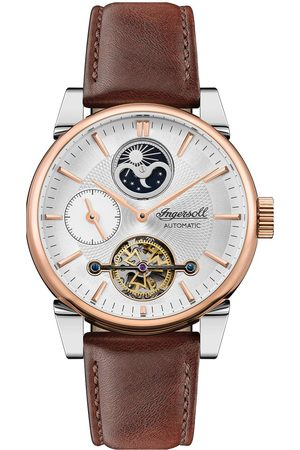 INGERSOLL 1892 The Swing White And Rose Gold Detail Moonphase Automatic Dial Brown Leather Strap Watch