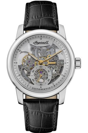 INGERSOLL 1892 The Baldwin Silver And Gold Detail Skeleton Dial Black Leather Strap Watch