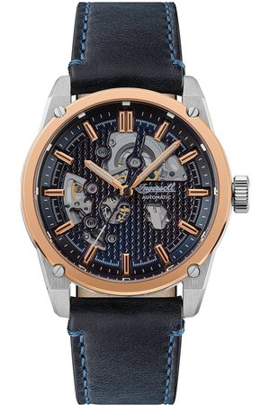 INGERSOLL 1892 The Carroll Silver And Rose Gold Detail Skeleton Automatic Dial Black Leather Strap Watch