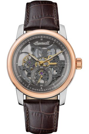 INGERSOLL 1892 The Baldwin Silver And Rose Gold Detail Skeleton Dial Brown Leather Strap Watch