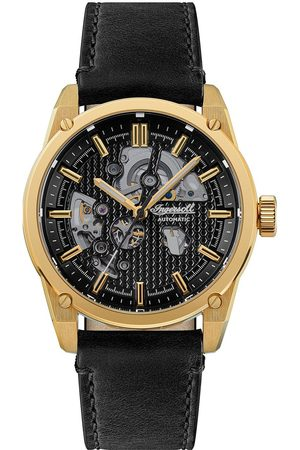 INGERSOLL 1892 The Carroll Black And Gold Detail Skeleton Automatic Dial Black Leather Strap Watch