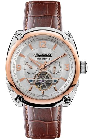 INGERSOLL 1892 The Michigan Silver And Gold Detail Automatic Dial Brown Leather Strap Watch
