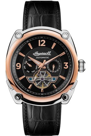 INGERSOLL 1892 The Michigan Black And Gold Detail Automatic Dial Black Leather Strap Watch