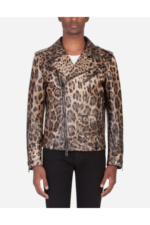 Dolce & Gabbana Jackets and Bombers - LAMBSKIN LEATHER JACKET WITH LEOPARD PRINT