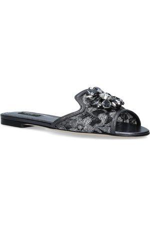 Dolce & Gabbana Lace-Embellished Bianca Slides