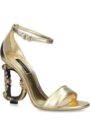 Dolce & Gabbana Leather Baroque-Heel Keira Sandals 105