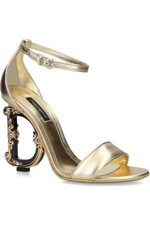 Dolce & Gabbana Leather Baroque-Heel Keira Sandals 105