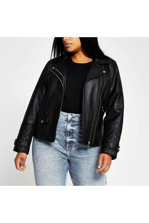 River Island Women Jackets - Womens Plus double zip PU biker jacket