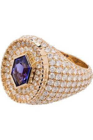 O Thongthai Men Rings - 14kt yellow Fancy Cut tanzanite/diamond ring