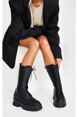 PRETTYLITTLETHING Extreme Chunky Sole Calf High Biker Boots