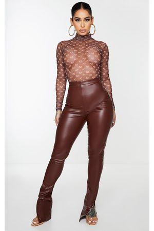 PRETTYLITTLETHING Shape Chocolate PU Split Hem Trousers